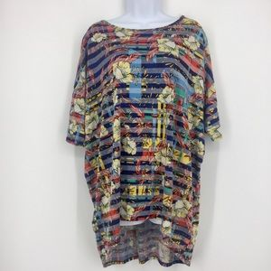 LULAROE Irma colorful High-low Knit Blouse Tunic L